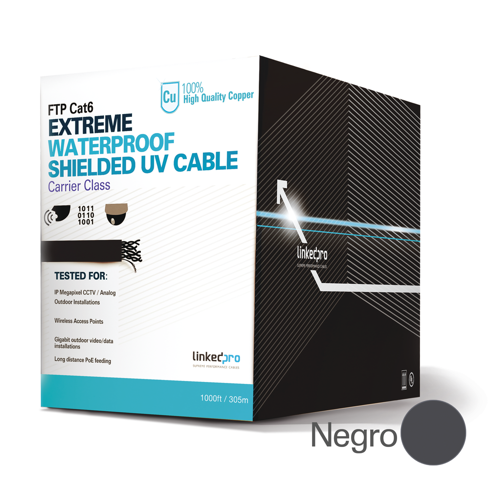 Bobina de cable de 1000 ft ( 305 m ) Cat6 exterior blindado tipo FTP para climas extremos, UL, color Negro, para aplicaciones de CCTV, Video HD y redes de datos. Uso en intemperie. PRO-CAT-6-EXT
